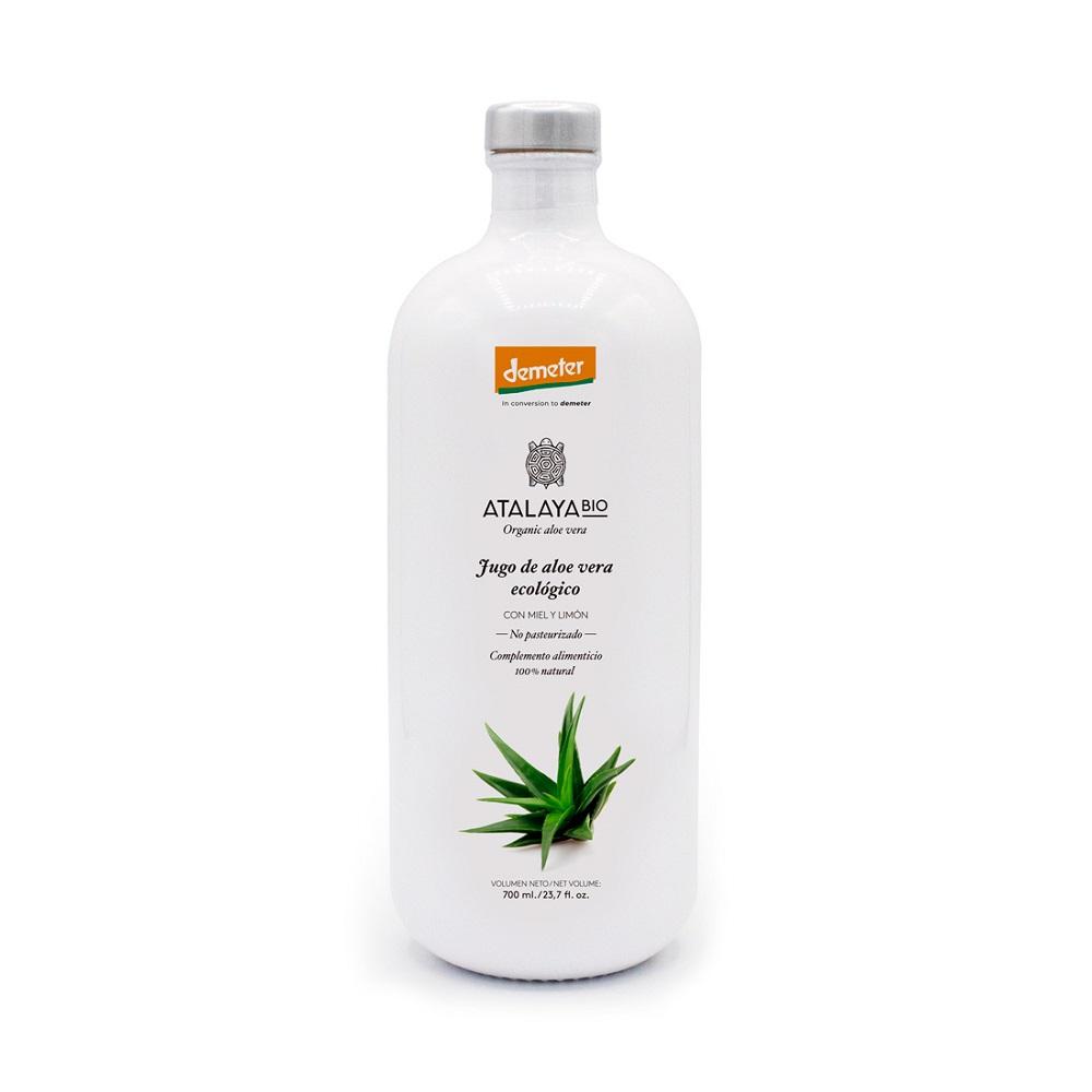 """Jugo de aloe vera (96%) miel y limón Ecológico Sin filtrar Para beber Certificado """"En reconversión a Demeter""""- 700 ml"""