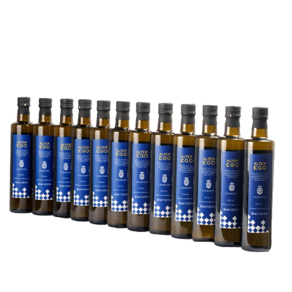 Aceite de oliva virgen extra. Lote de 12 botellas de 500ml. Casa de Alba Alter Ego 100% Picual.