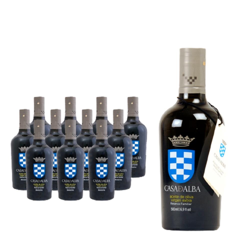 Aceite de oliva virgen extra cosecha temprana (Limitada). Lote de 12 botellas de 500ml. Reserva Familiar Casa de Alba 100% Picual