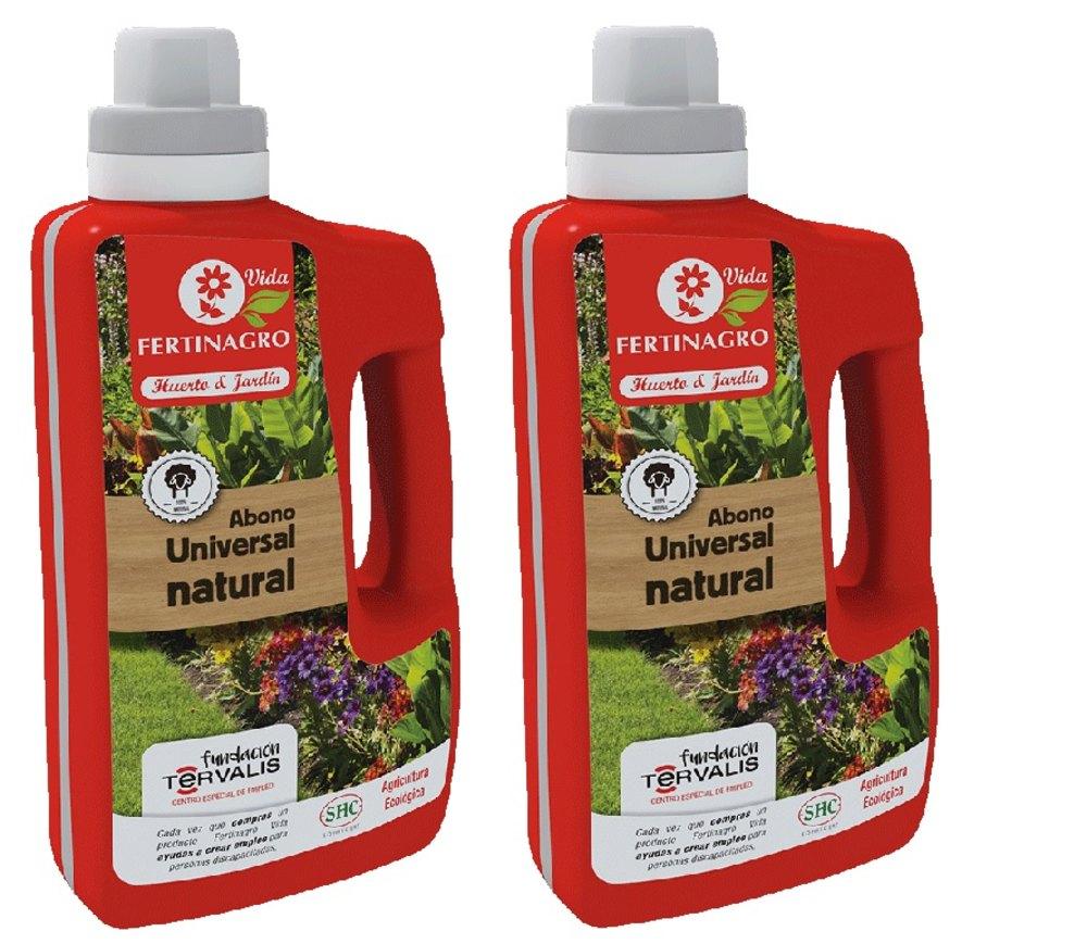 Lote de 2 unidades de Abono universal natural ecológico para huerto y jardín  de 1 litro