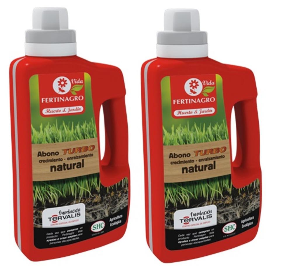 Lote de dos unidades de Abono turbo natural ecológico con aminoácidos especial crecimiento y enraizamiento de 500 ml.