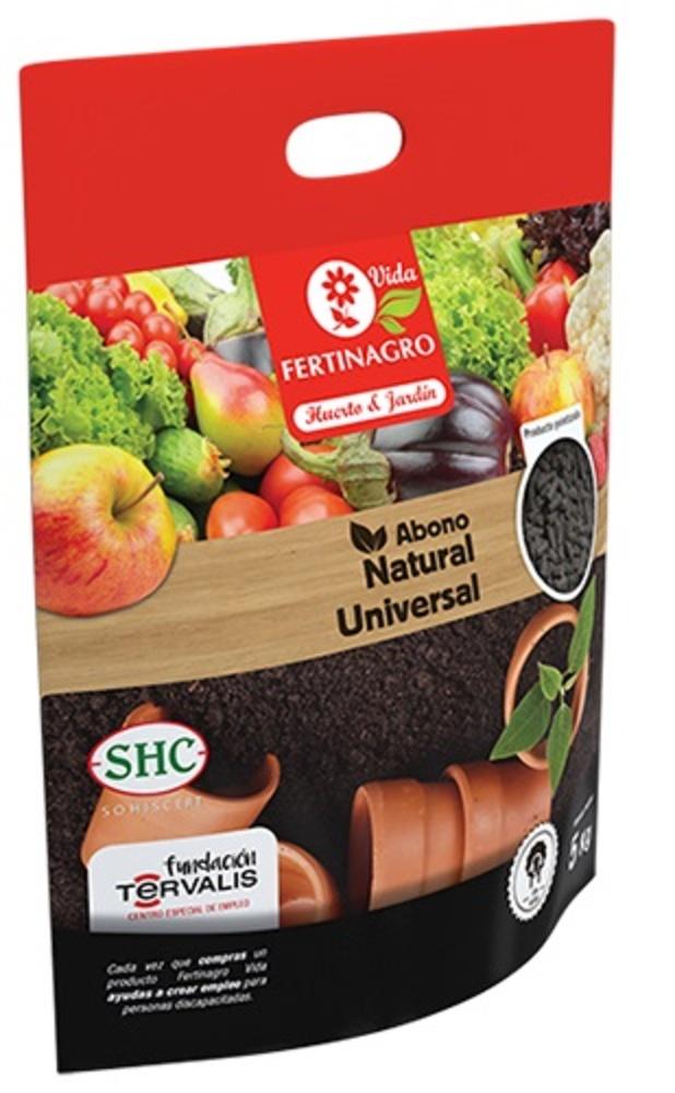Abono universal  ecológico para huerto y jardín. Saco de 5 Kg.