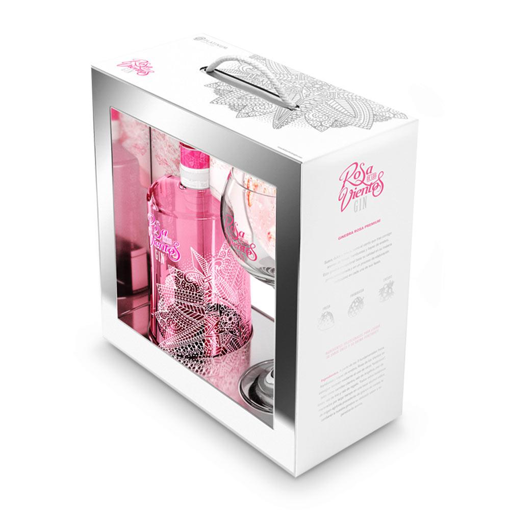Pack Gin Rosa de los Vientos 37,5º 70cl + Copa