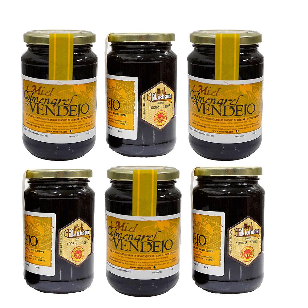 Pack de 6 tarros de medio kilogramo de miel de bosque Colmenares de Vendejo, miel de Liébana, Cantabria