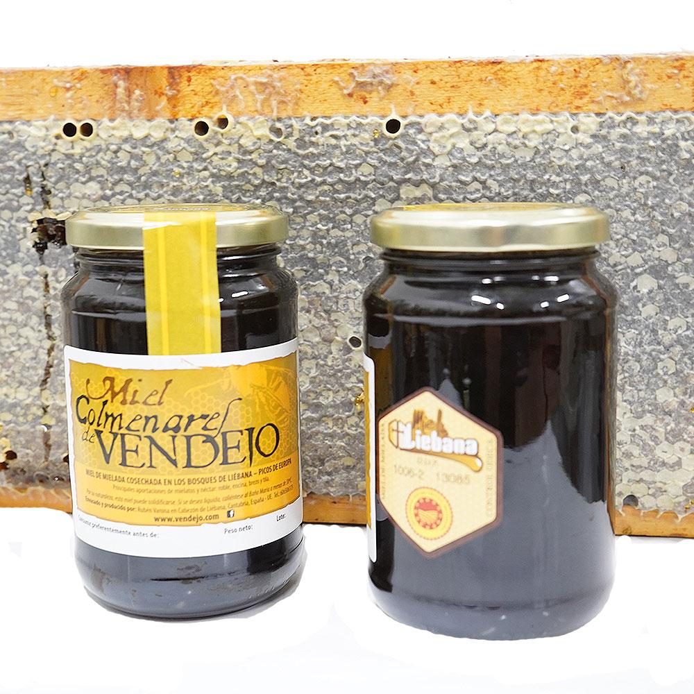 Tarros de medio kilogramo de miel de bosque Colmenares de Vendejo, miel de Liébana, Cantabria