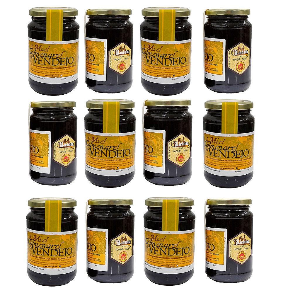 Pack de 12 tarros de medio kilogramo de miel de bosque Colmenares de Vendejo, miel de Liébana, Cantabria