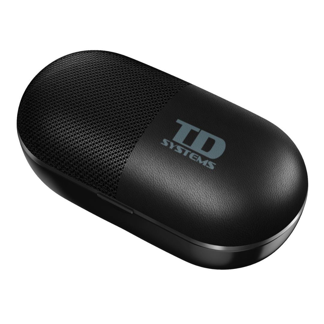 TDSystems Fones de ouvido Bluetooth com alto-falante embutido, sistemas TD de cor preta ou branca