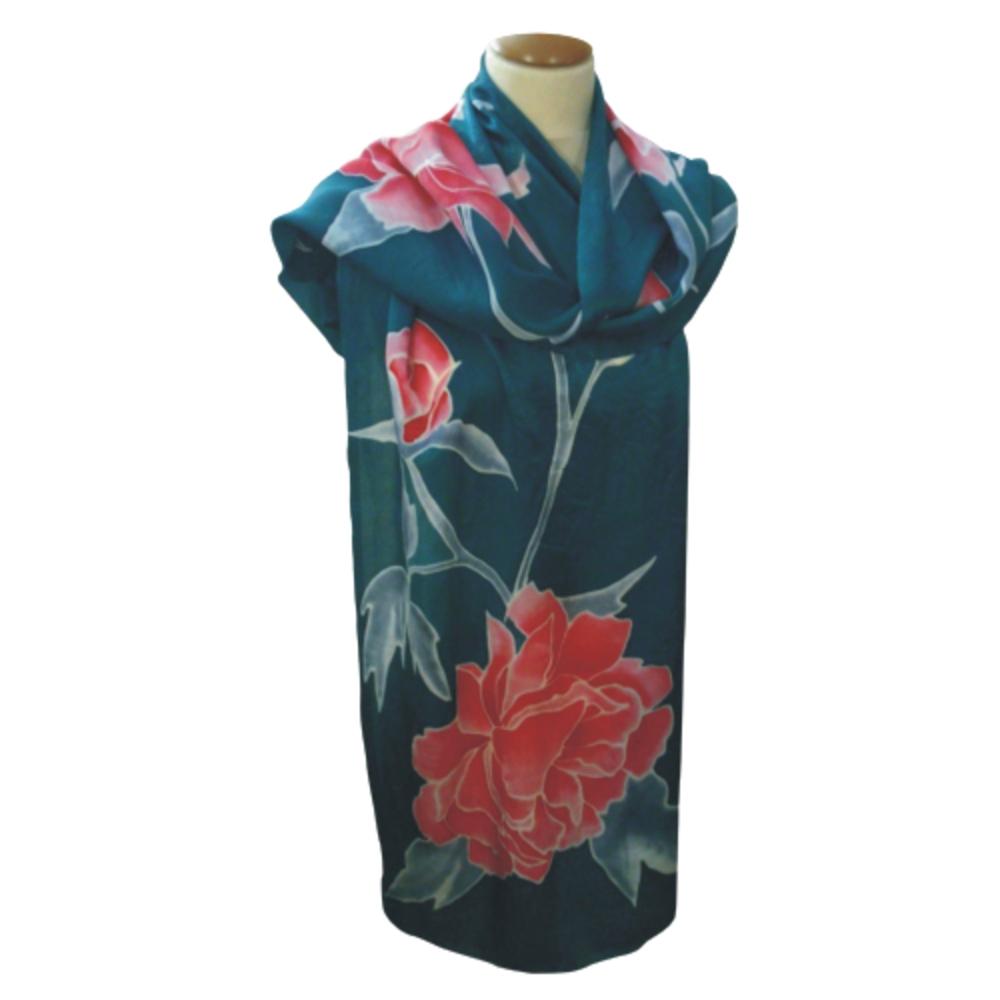 """Fular seda natural """"Flores Rosas"""""""