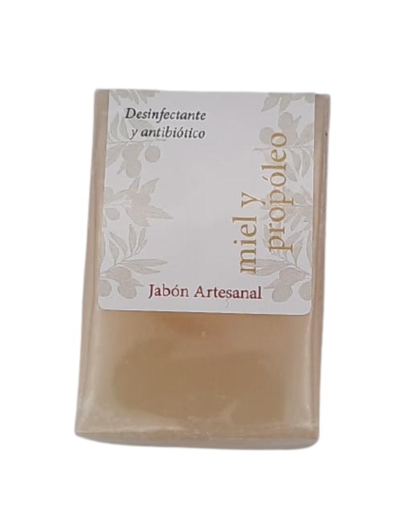 Jabón artesanal de aceite de oliva virgen extra, miel y propóleo