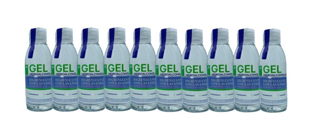 Gel hidroalcohólico higienizante con aceite esencial ecológico de lavanda (80%vol.alcohol)  10 unidades  x 100 ml