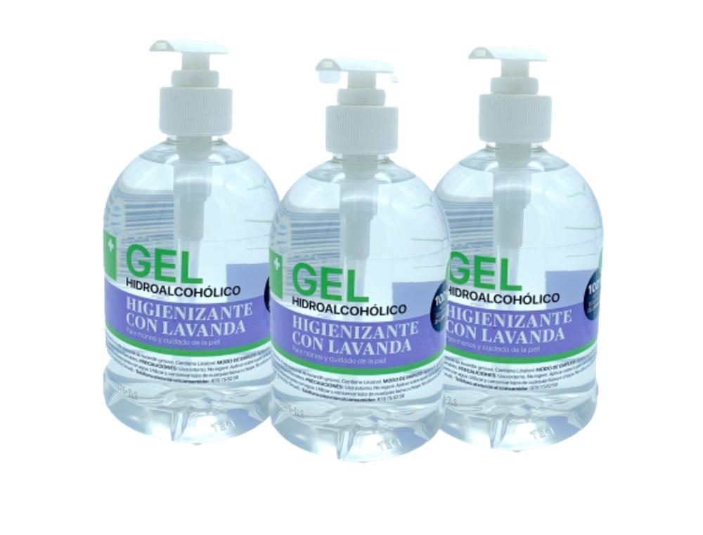 Gel hidroalcohólico higienizante con aceite esencial ecológico de lavanda (80%vol.alcohol) 3 unidades  x 500 ml