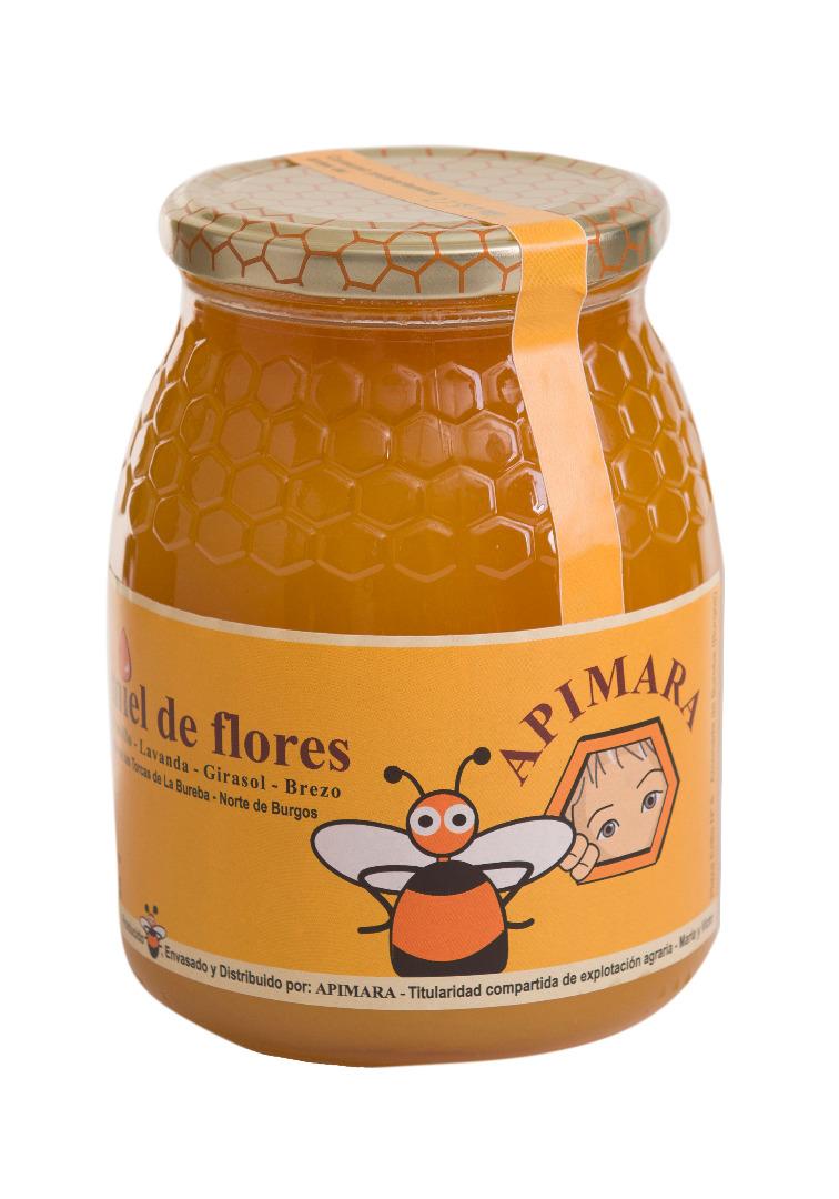 Bote de miel de flores