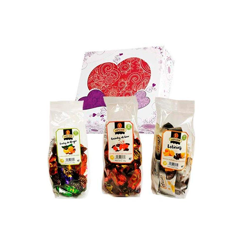 Cesta mixta con Frutas de Aragón + Guindas al licor + Gajos de Naranja confitada con chocolate