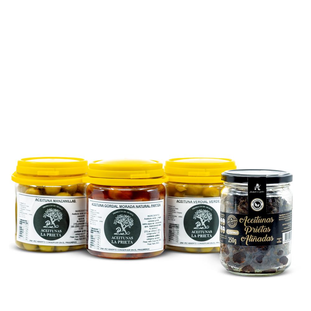 Pack degustación de 4 variedades de Aceitunas