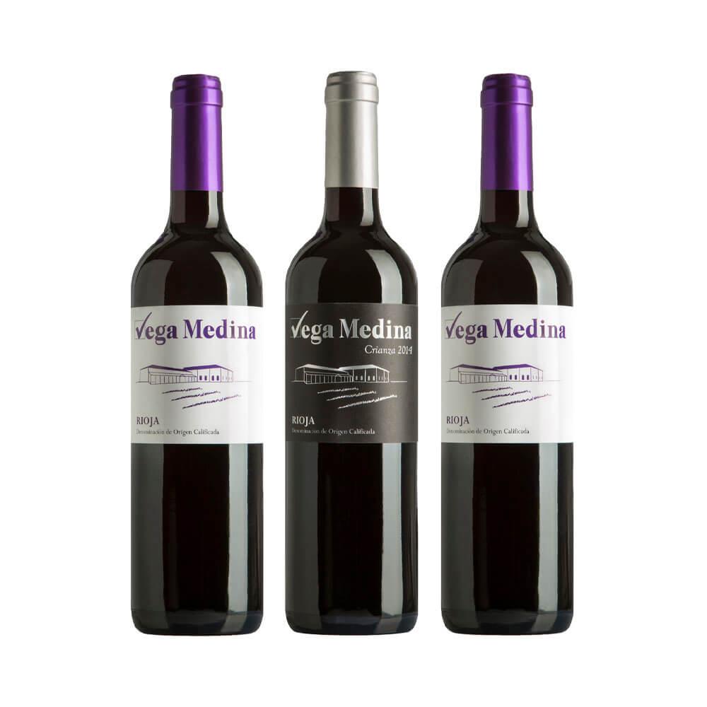 Lote Vino tinto joven + Vino tinto crianza DOCa Rioja - 3 x 75 cl