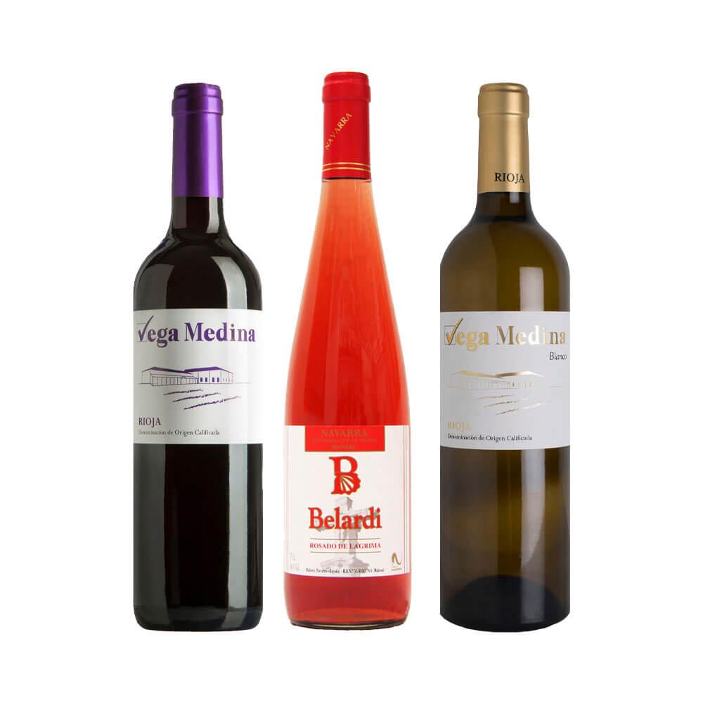 Lote Vino tinto joven DOCa Rioja + Vino rosado joven DO Navarra + Vino blanco joven DOCa Rioja - 3 x 75 cl