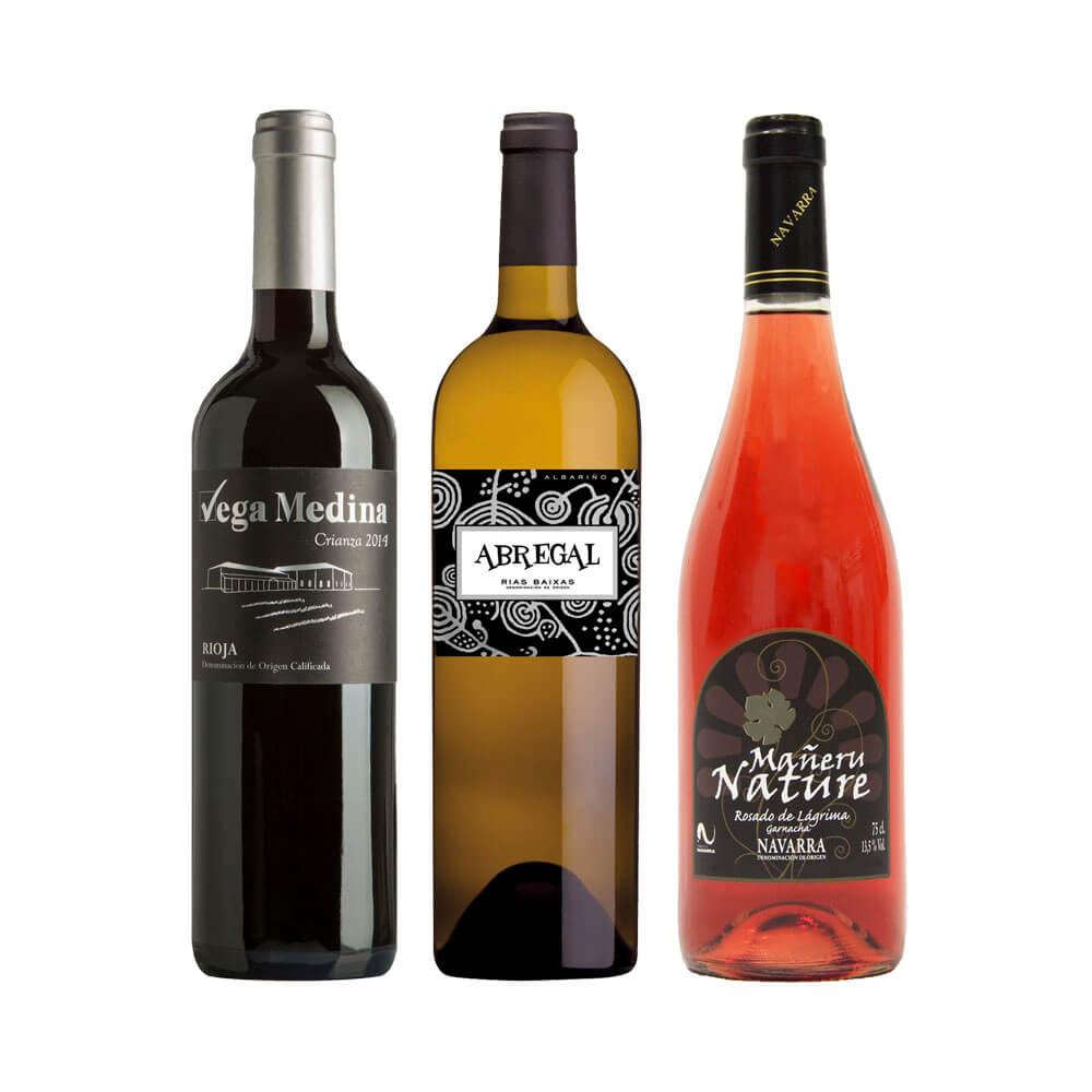 Lote Vino tinto crianza DOCa Rioja + Vino blanco joven DO Rias Baixas + Vino rosado joven DO Navarra - 3 x 75 cl