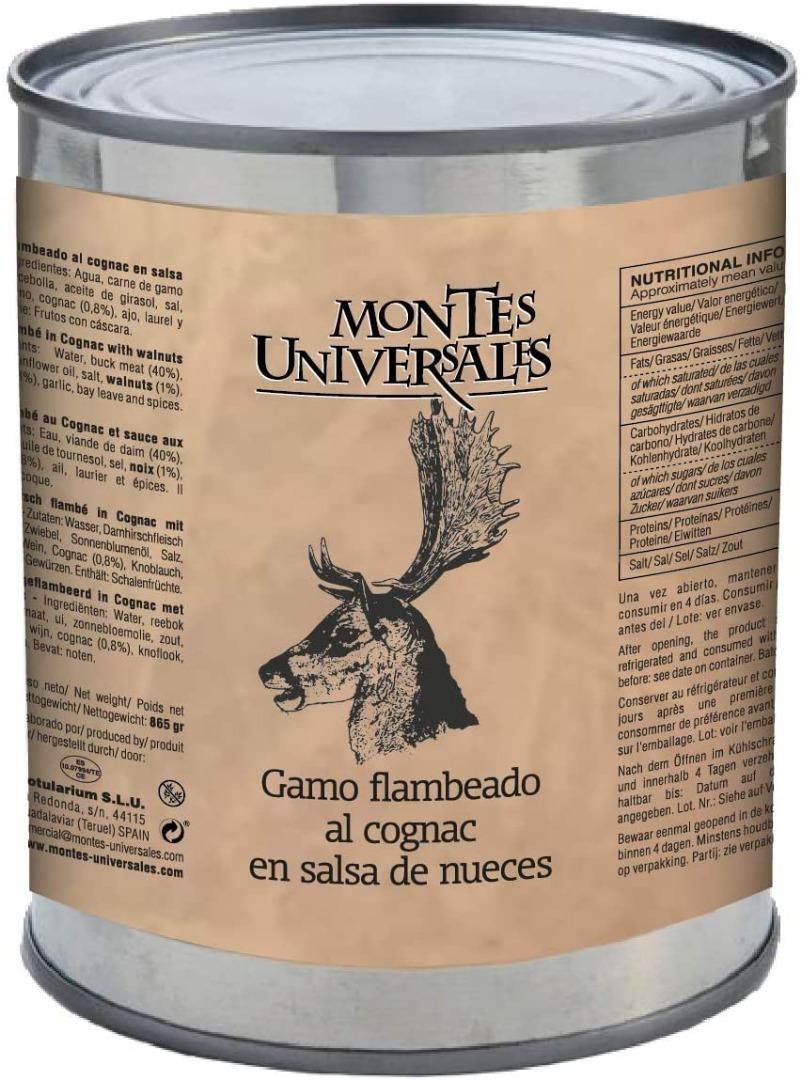 Gamo flambeado al cognac en salsa de nueces Montes Universales
