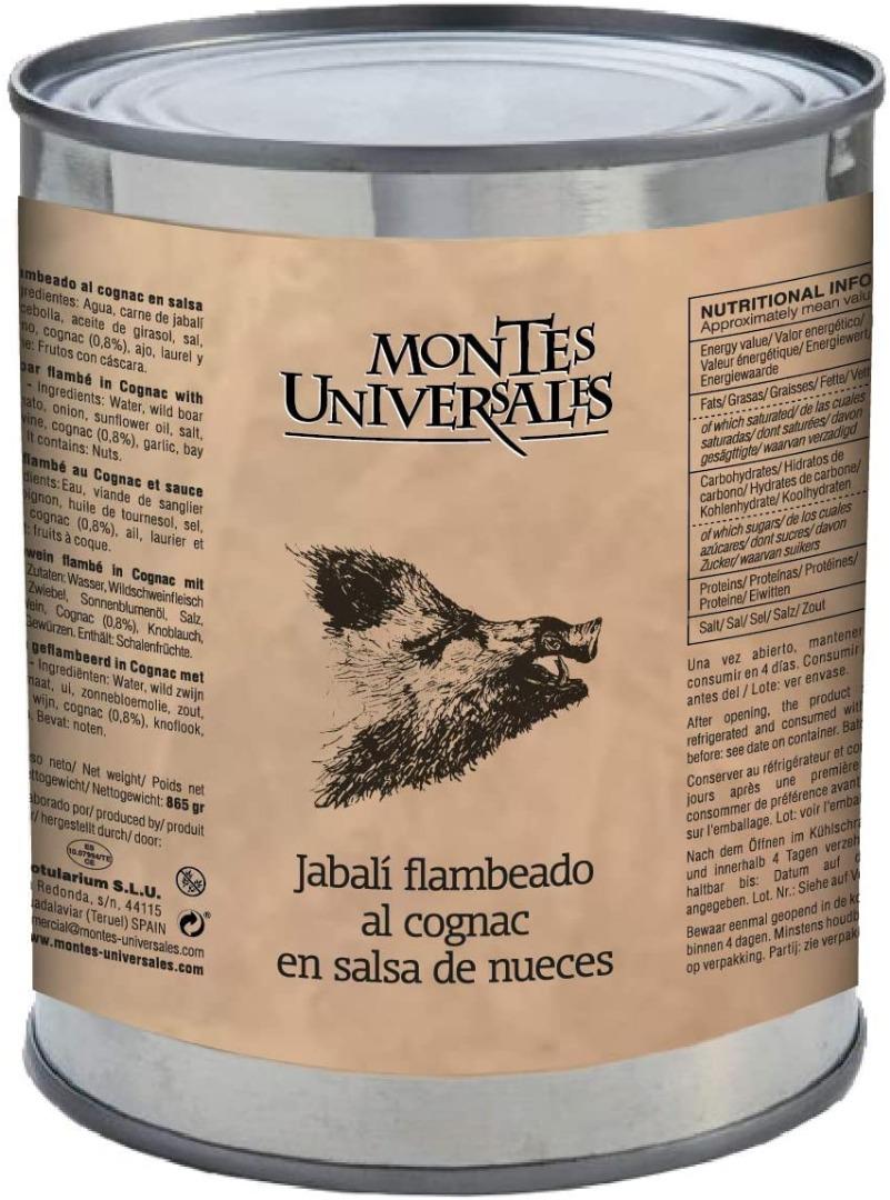 Jabalí flambeado al cognac en salsa de nueces Montes Universales