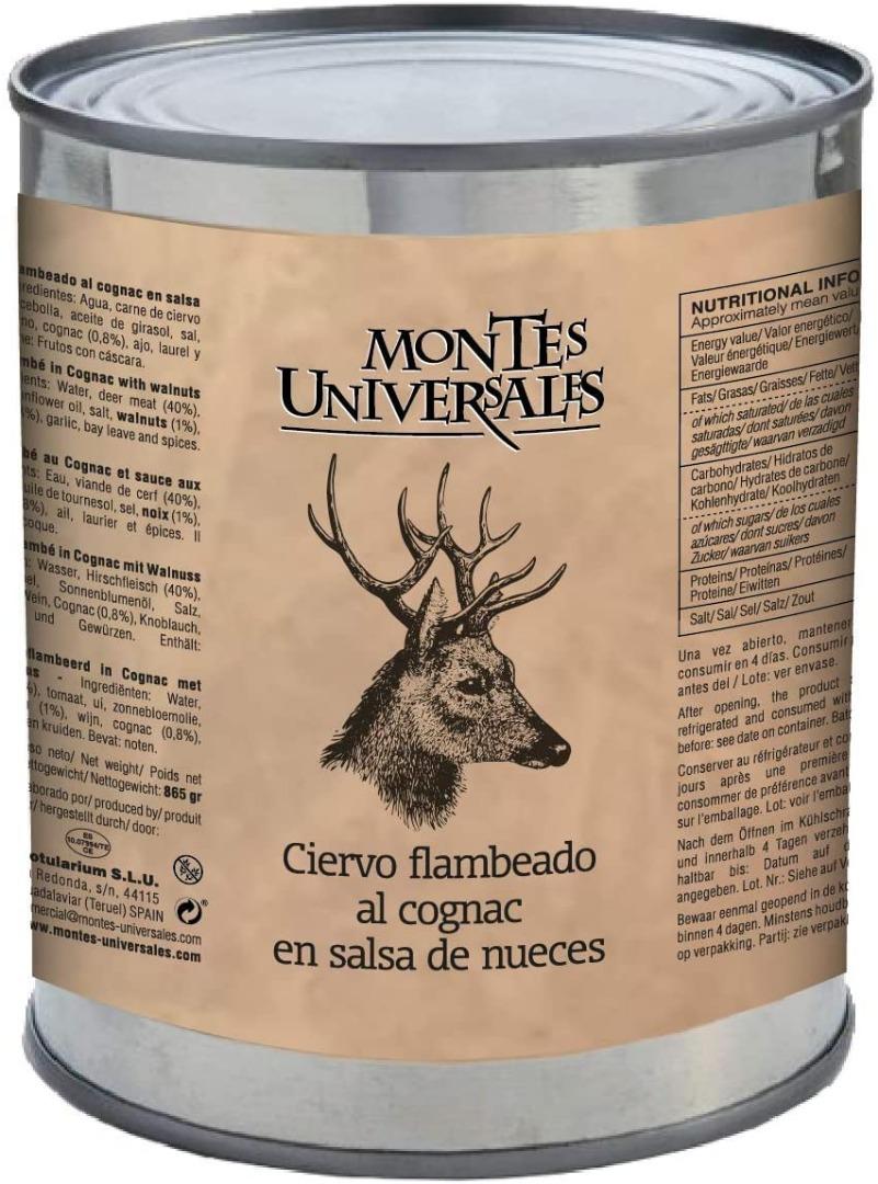 Ciervo flambeado al cognac en salsa de nueces Montes Universales