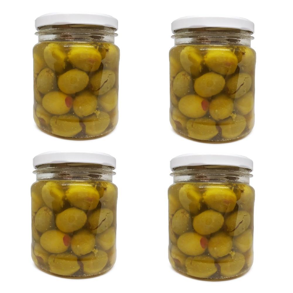 Aceitunas Gordales rellenas de pimiento - 4 x 0,5 Kg