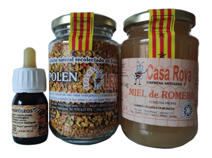 Apícola Levi Pack to take care of your defenses: Rosemary honey jar 1/2 kg., pollen jar 240g. and bottle of 30ml propolis extract.