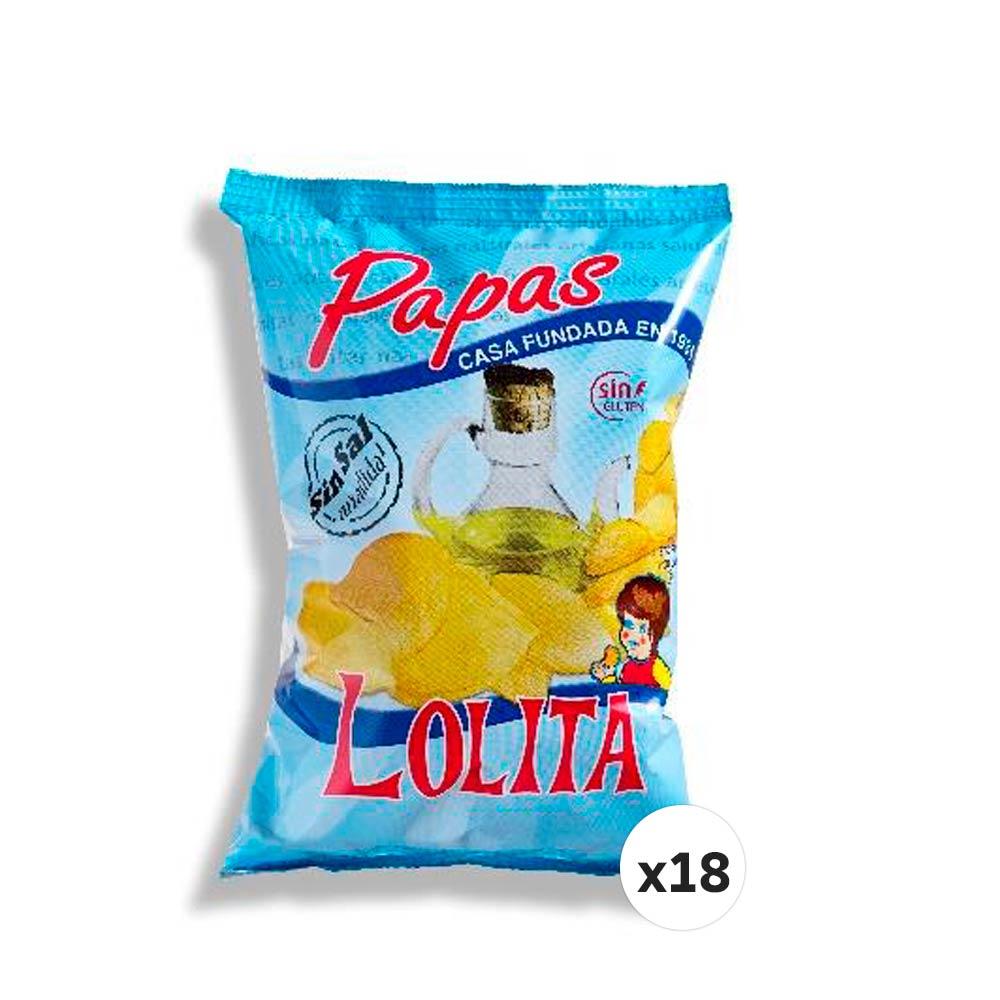 PAPAS LOLITA SIN SAL 145 G (CAJA DE 18 UNIDADES)
