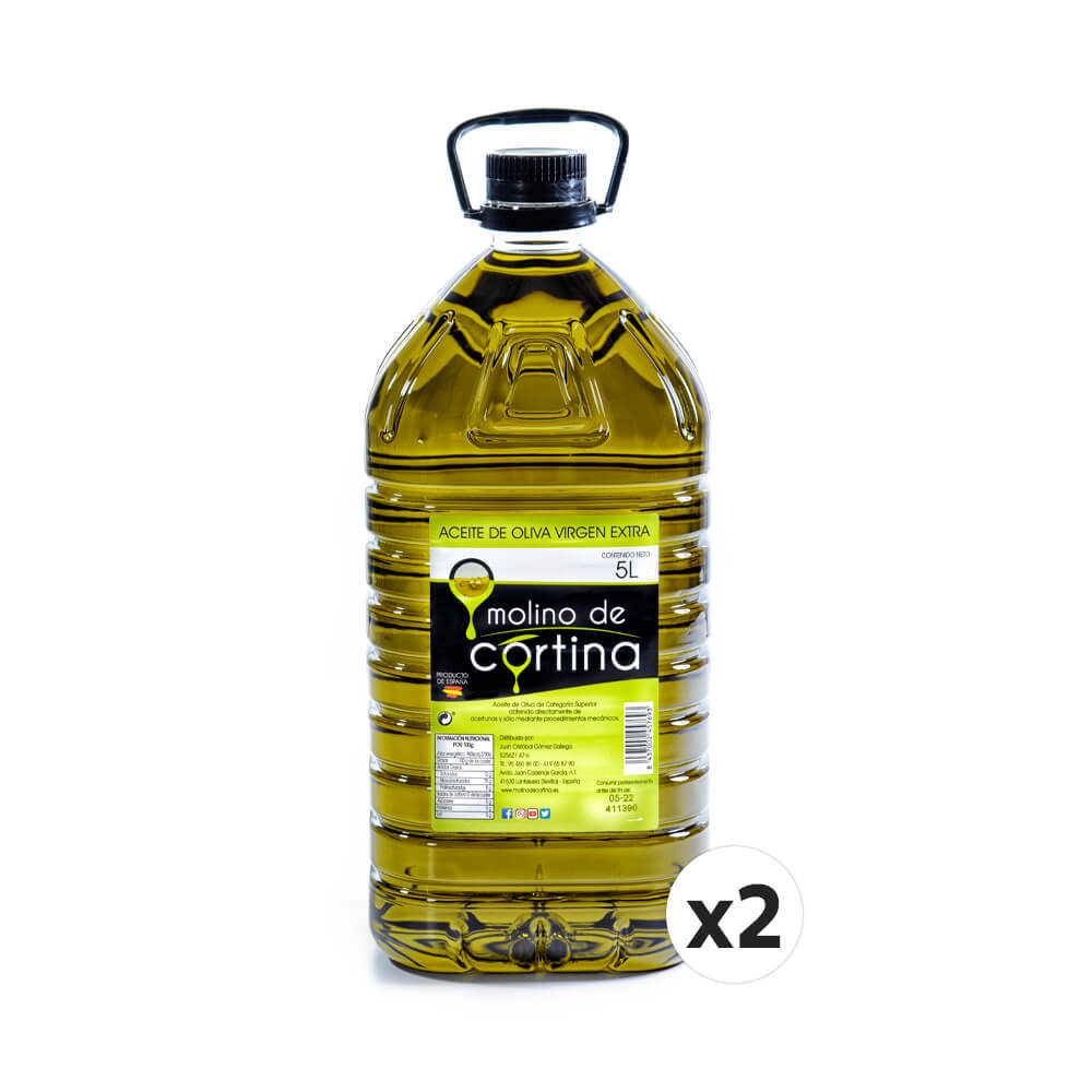 Molino de Cortina 2X5 liters. Curtain Mill Extra Virgin Olive Oil. Filtering