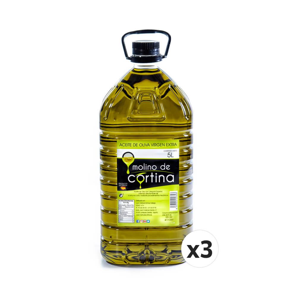 3X5 litros. Molino de Cortina Aceite Oliva Extra Virgen. Filtrado