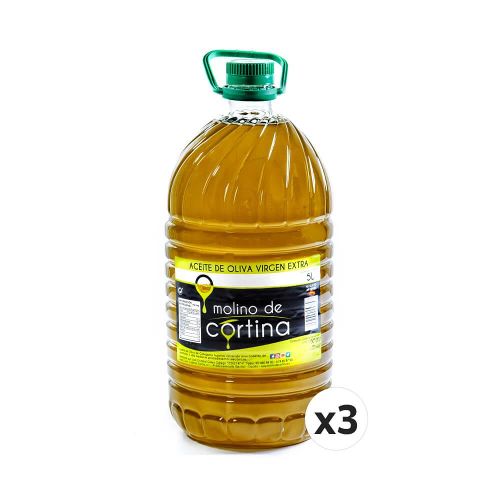 3X5 litros. Molino de Cortina Aceite Oliva Extra Virgen. SIN Filtrar