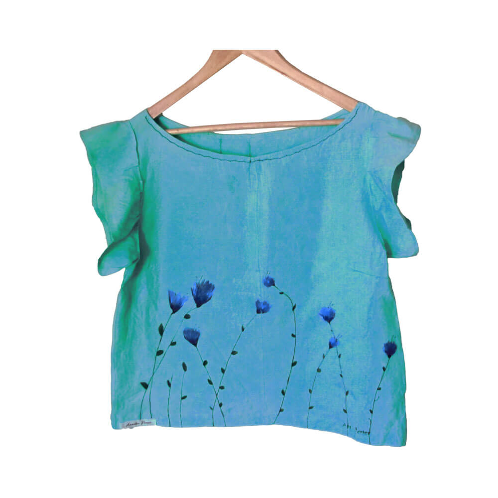 Blusa mujer flores azules