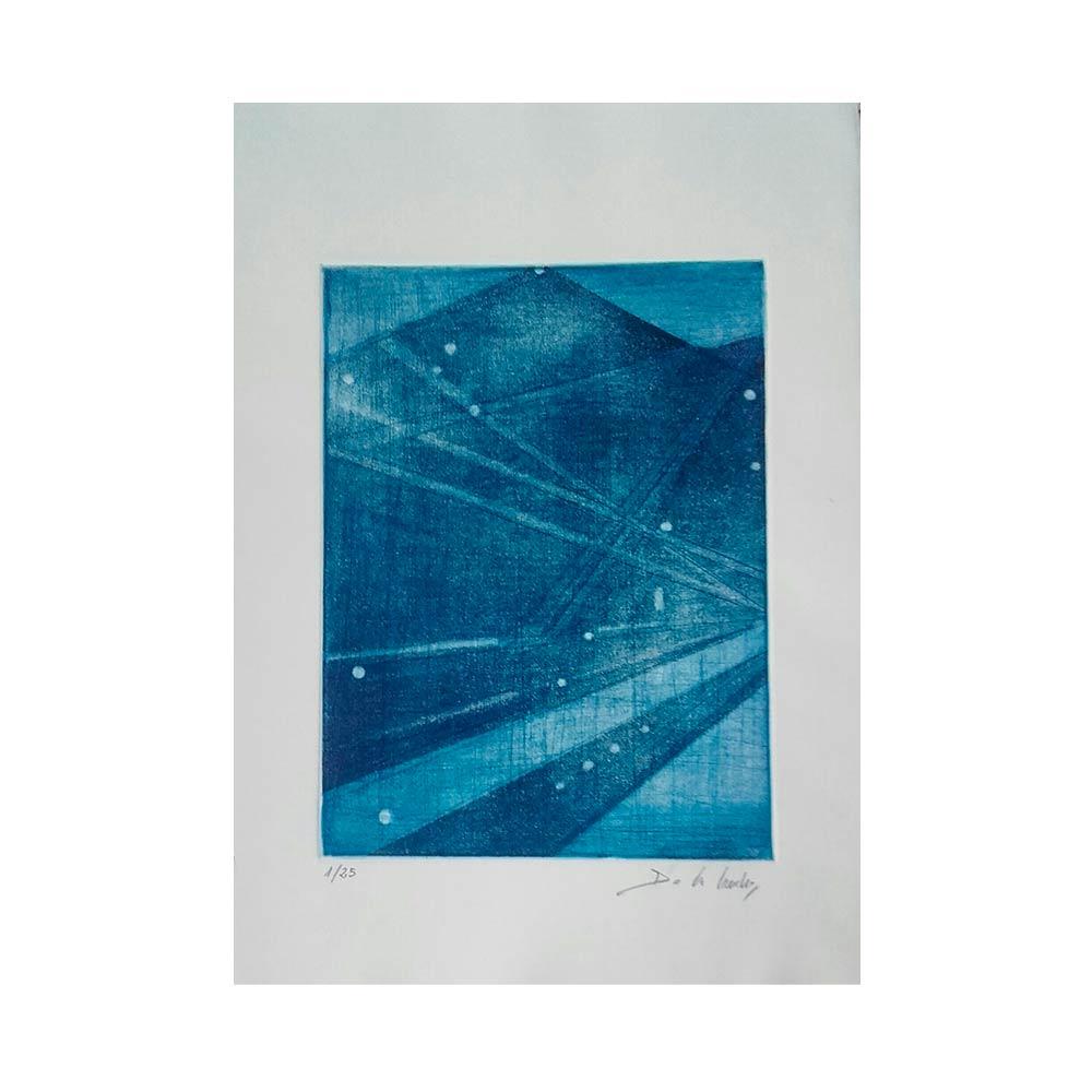 Escalera  Azul - Reproducción Grabado Original 30x21 cm