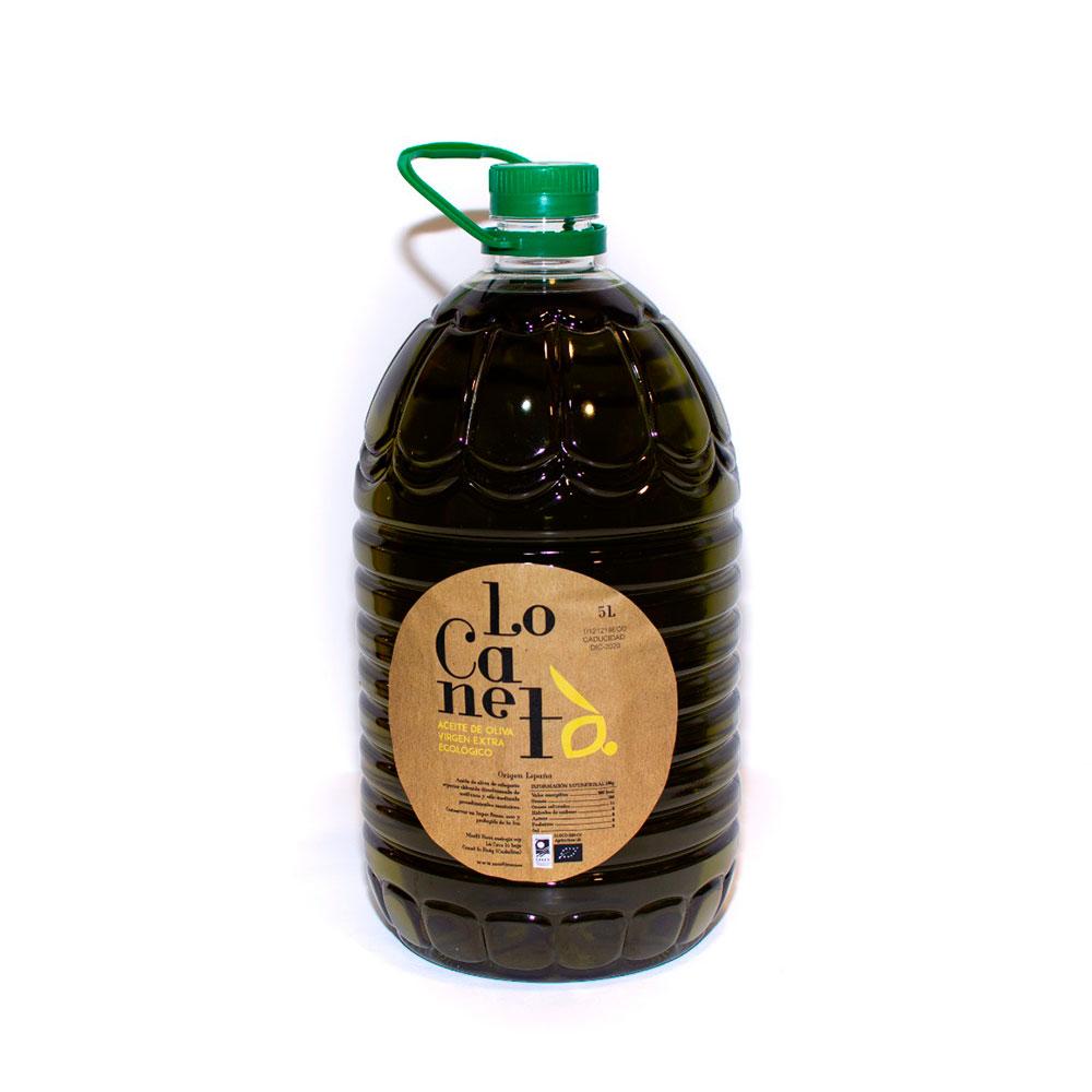 Garrafa Aceite de aceite de oliva virgen extra ecológico