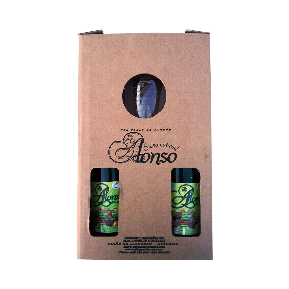 """Caja de 2 Botellas de 70 cl de Sidra Natural Tradicional + 1 vaso grabado """"Alonso"""""""