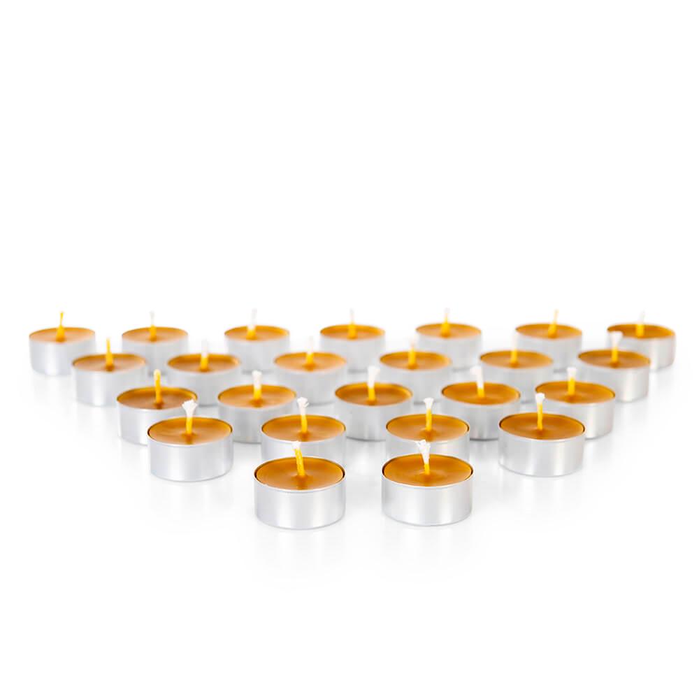Velas de Cera de Abeja 100% en Soporte de Aluminio - 24 Unidades