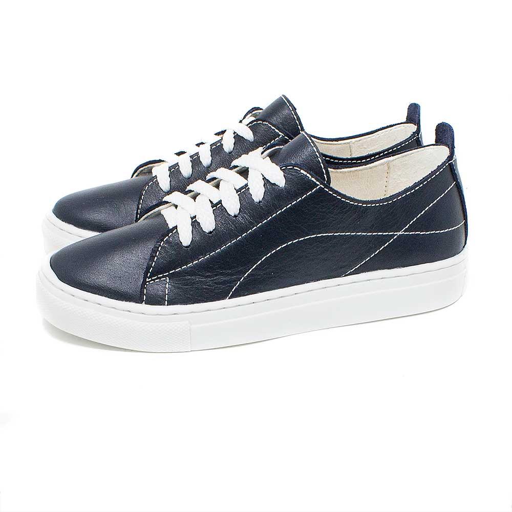 Sneaker de Piel Natural Azul Marino