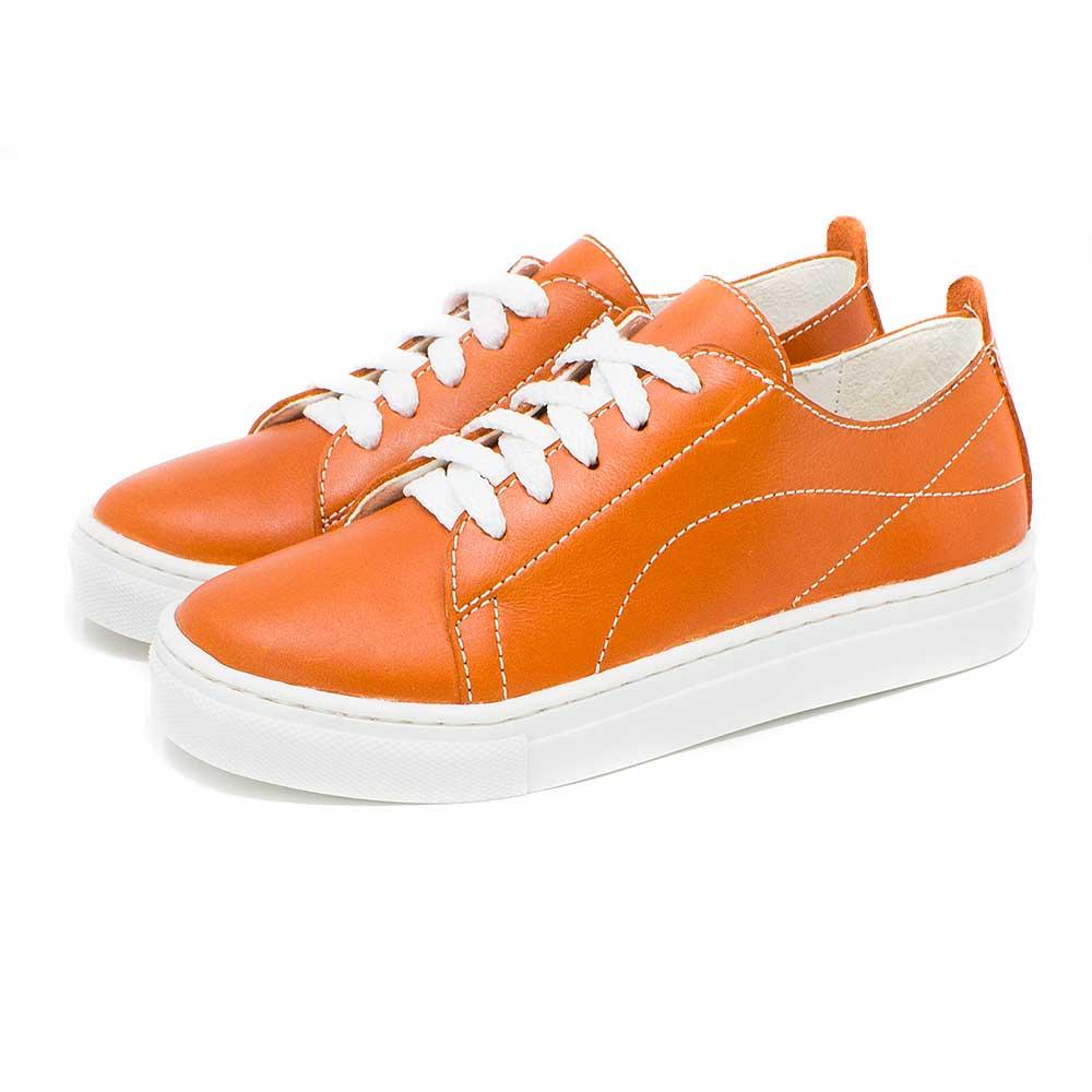Sneaker de Piel Natural Naranja