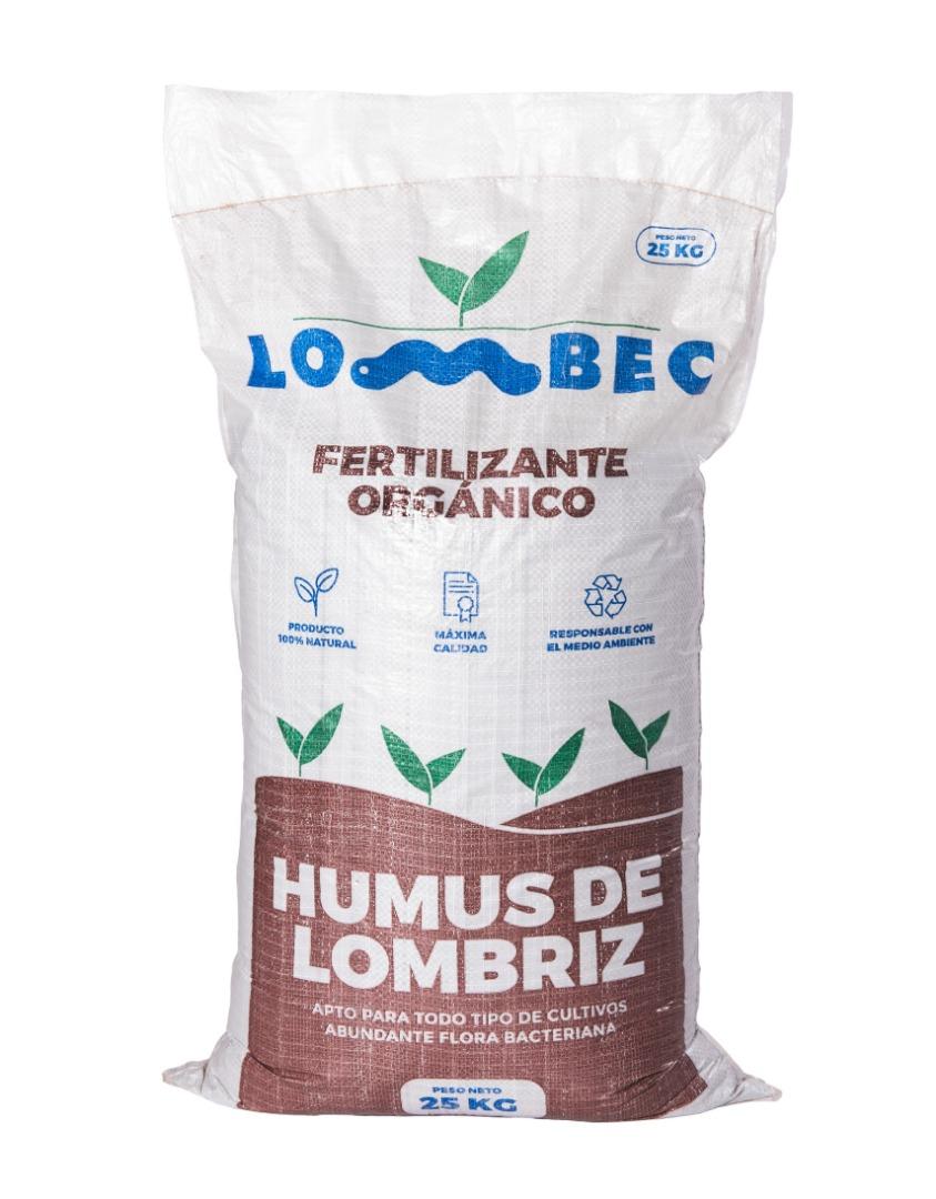 Abono orgánico para huerto y jardín – Saco de 25KG (42L) de Humus de Lombriz LOMBEC