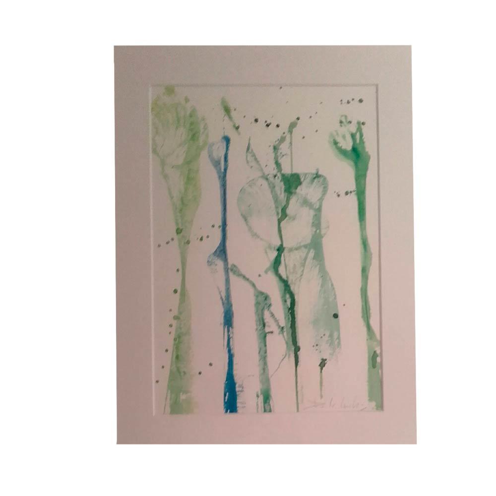 Abstracto Verde - Tinta con marco 32x42 cm