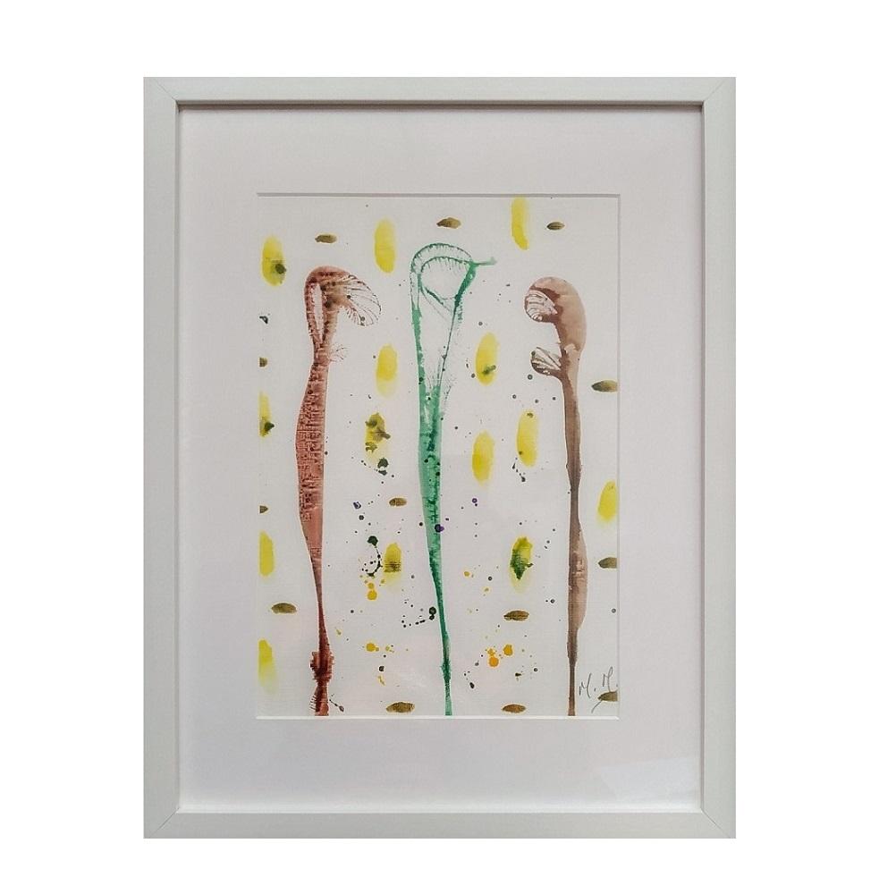 Abstracto Marrón - Tinta con marco 32x42 cm