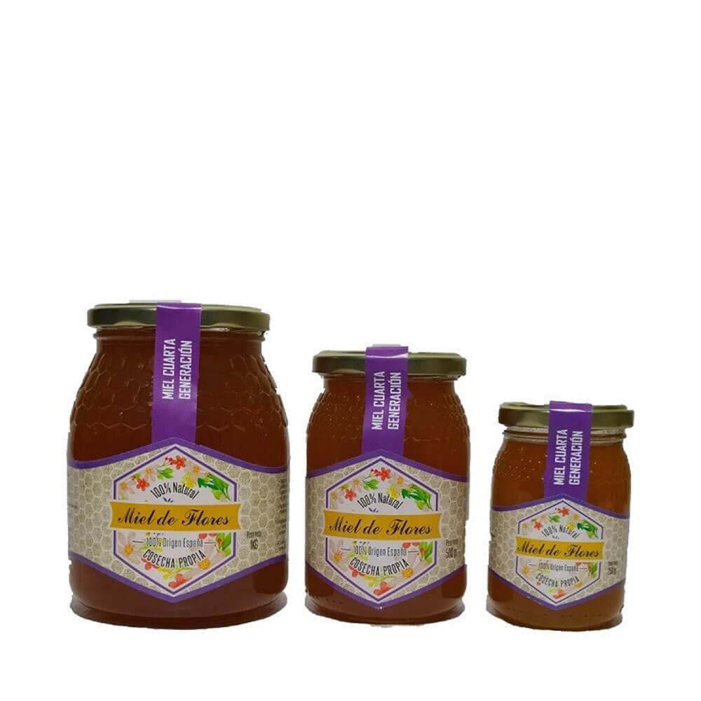 Pack Miel de Flores - Bote 1 Kg + Bote 500 g + Bote 250 g