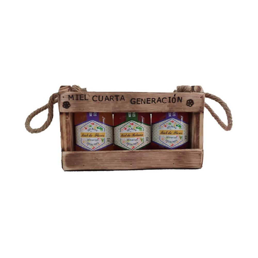 Estuche de madera y Asas de cuerda con 3 botes de Miel de 250 g