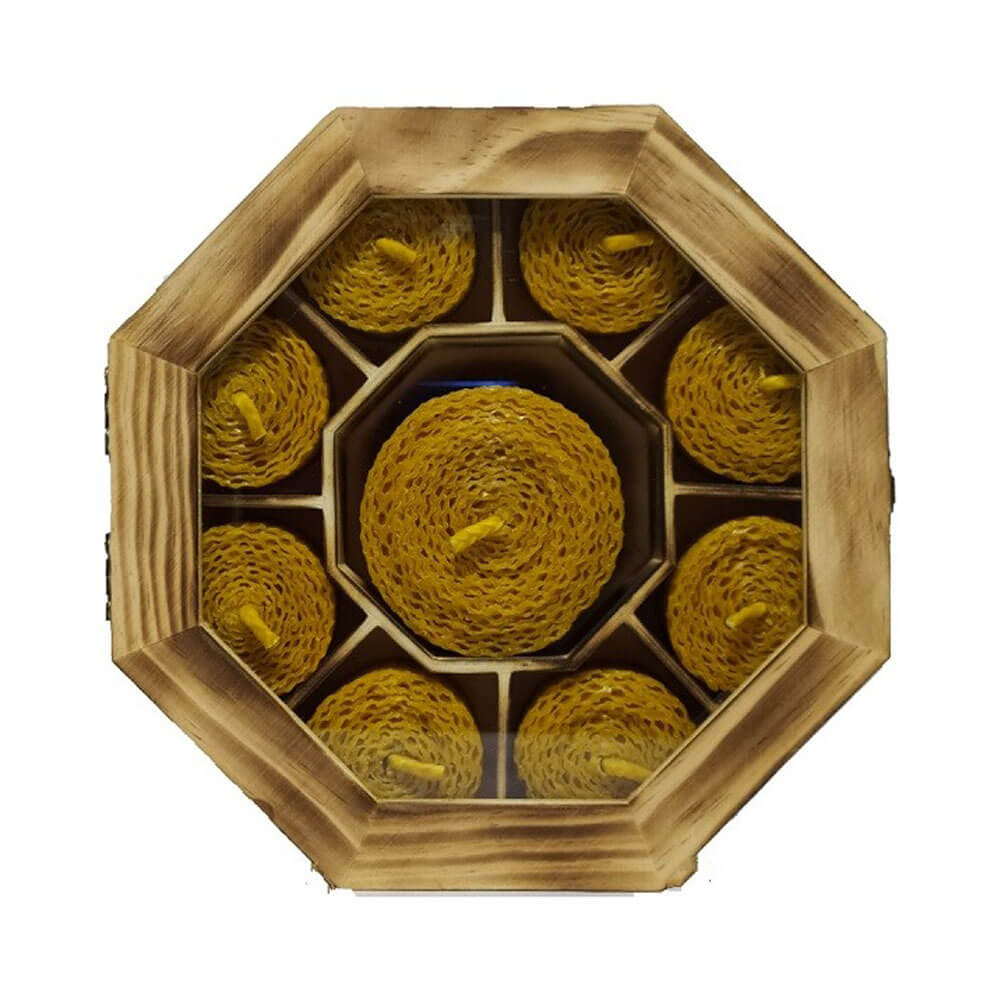 Caja con 9 velas de cera pura de abeja