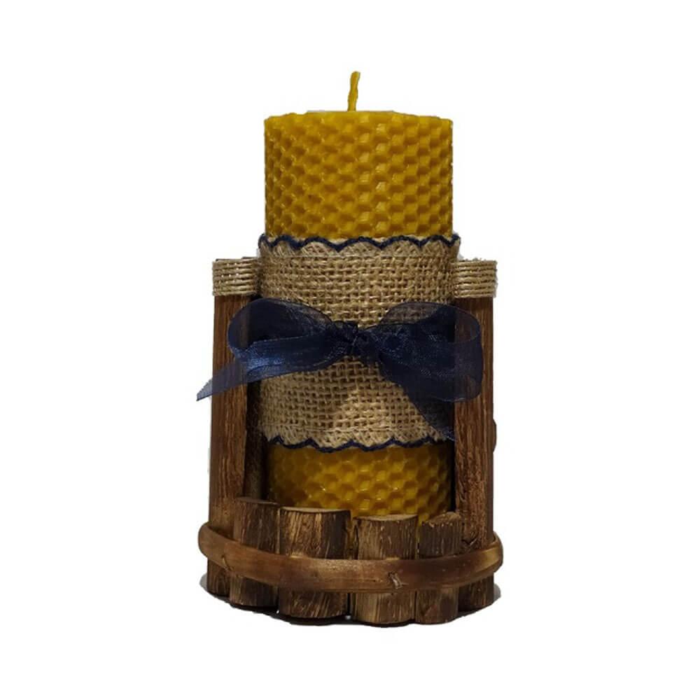 Portavelas con vela de cera pura de abeja