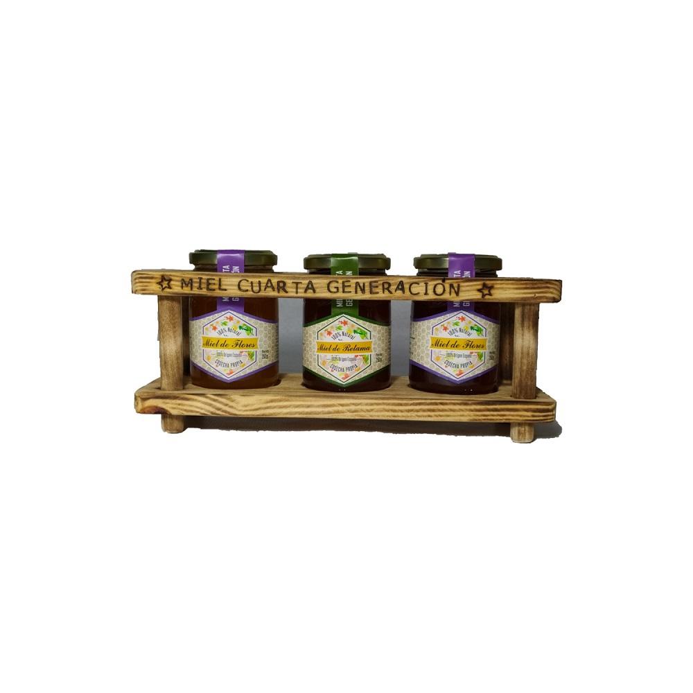 Estuche de Madera con 3 botes de Miel  de 250 g