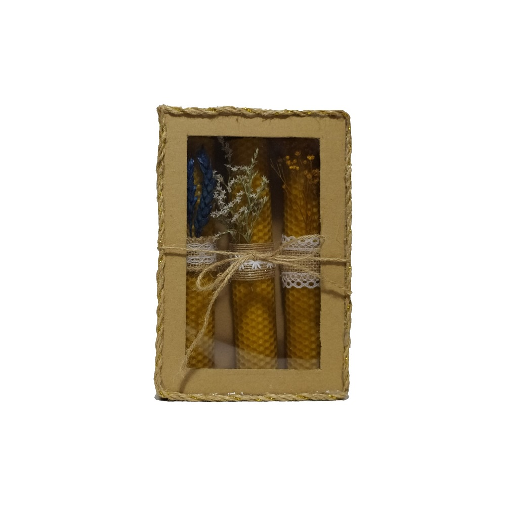 Caja con 3 Velas de Cera Pura de Abeja