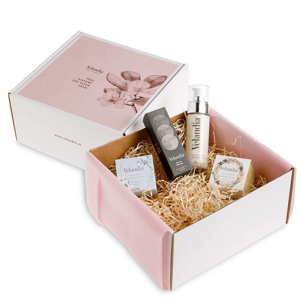 Caja Vegana de Cosmética Natural - Face Cream Bio 50ml + Sérum Woman 30ml + Jabón Artesanal + Jabón Exfoliante Facial