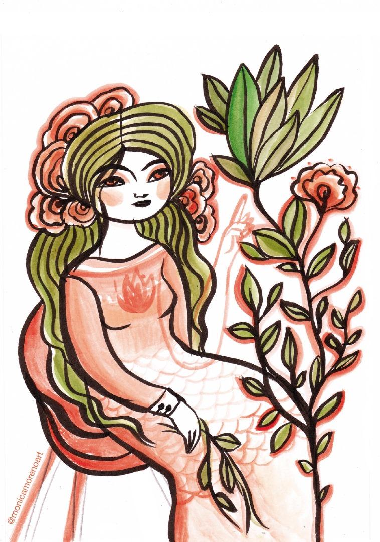 Monica Moreno Art Ilustración Diosa de las plantas - Formato A5