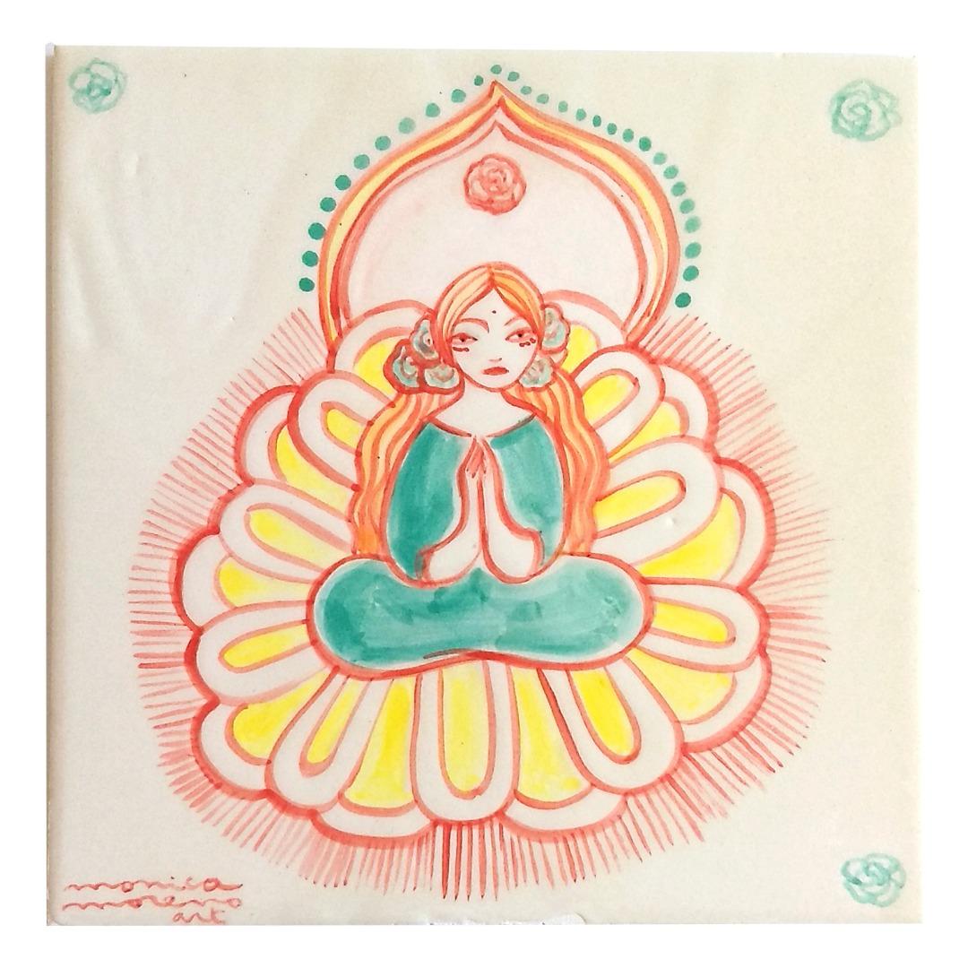 Monica Moreno Art Big goddess tile in bloom