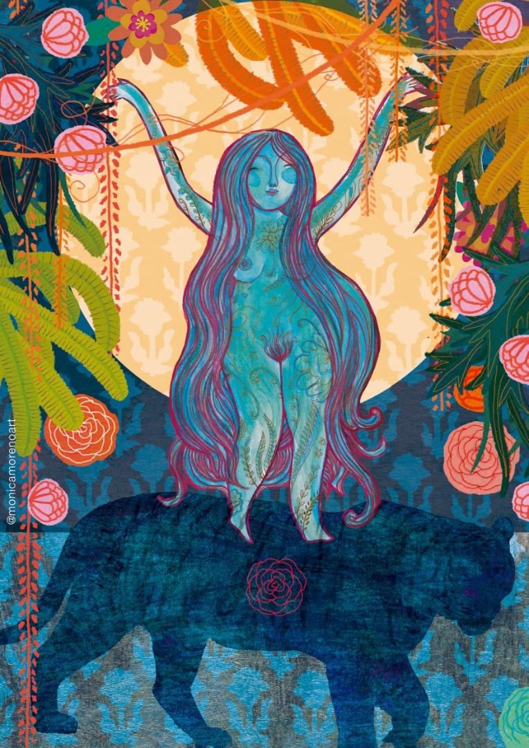Monica Moreno Art Illustration Goddess Durga size A4